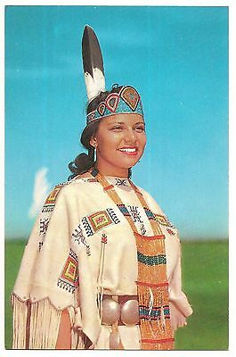 Native NORTH AMERICAN INDIAN PRINCESS Royalty Regalia  Vintage Postcard