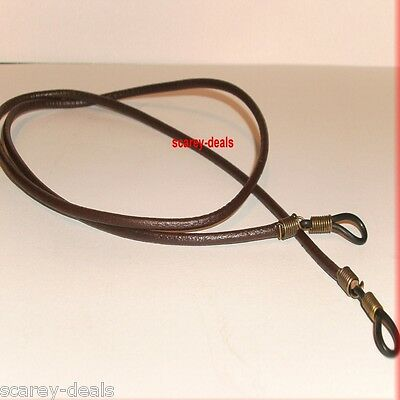 "Strong 28"" 3mm BROWN LEATHER glasses spectacleS holder neck strap cord 1ST CLASS"