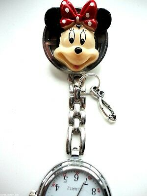 MINNIE Mouse Nurse Watch Clip on watch silver charm stethoscope LAST ONE EVER