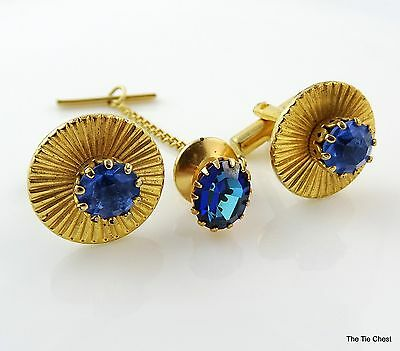 Vintage Cufflinks with Tie Pin Tack SET Blue Stone Gold Tone