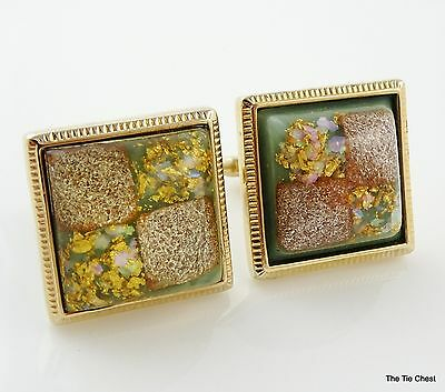 Vintage Hickok Cufflinks 1960s Large Square Lucite Flakes Super Cool!