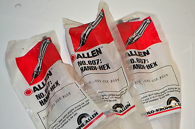 "3 NOS ALLEN Wrench USA HANDI-HEX # 607  .035"" Hex shaft Screwdriver with handle"