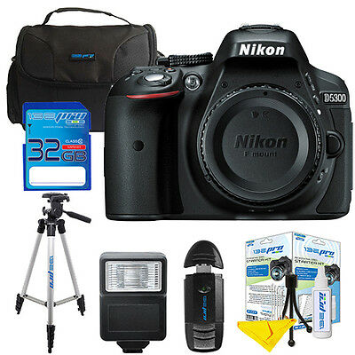 Nikon D5300 24.1 MP Digital SLR Camera Black Body W/ I3ePro 32GB Pro Bundle