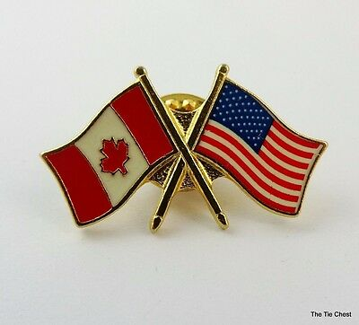 Canada US Flags Lapel Pin Canadian American Flag