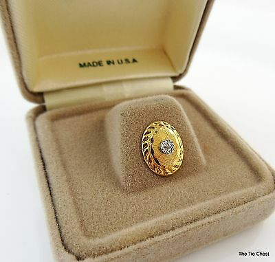 Vintage Tie Tack Pin Oval Center Stone in Gift Box Anson Gold Tone NOS
