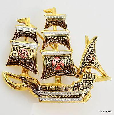 Nautical Boat Ship Pin Brooch Made in Spain Damascene Style