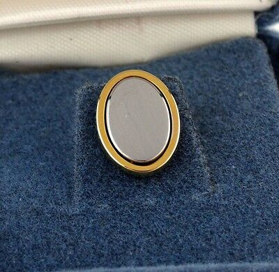 Vintage NOS Tie Tack Pin in Box Oval Simple Plain Two Tone Engravable