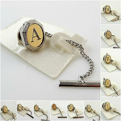 Vintage Tie Tack Tac Lapel Pin Letter Initial Personalized Two Tone