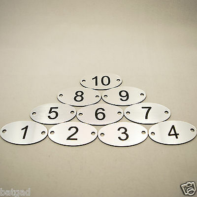 10 Laser Engraved Number Ovals, Table, Tags, Locker, Pub, Restaurant, Clubs