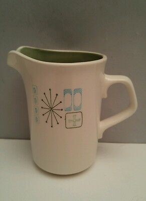 Mid Century Modern Taylorstone Cathay Atomic Green Lined Creamer Starburst