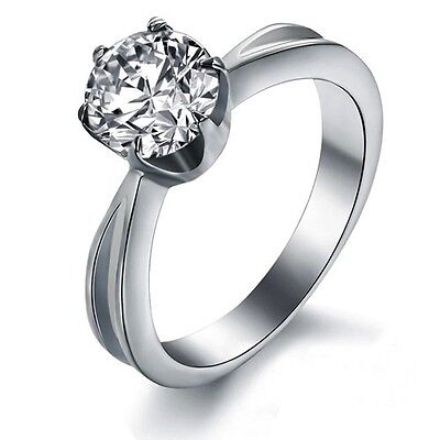 Stainless Steel Solitaire Round Cubic Zirconia Engagement Ring JBMRI100588