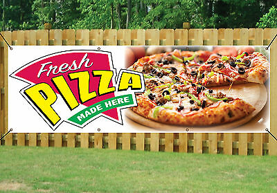 PIZZA SHOP TAKEAWAY BANNER FRESH MADE HERE OUTDOOR SIGN PVC with Eyelets V2