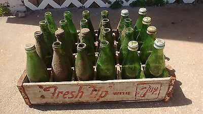 Old seven up 7up crate and 24 green bottles