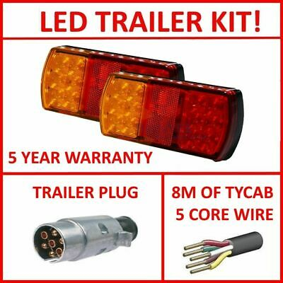Pair Of Led Trailer Lights, 1 X Lrm Plug, 8M X 5 Core Wire Kit Complete Light