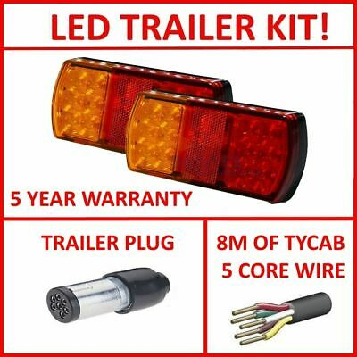 Pair Of Led Trailer Lights, 1 X Srm Plug, 8M X 5 Core Wire Kit Complete Light