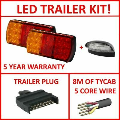 Pair Of Led Trailer Lights, 1 X Flat Plug, 1 X Npl, 8M X 5 Core Wire Kit Light