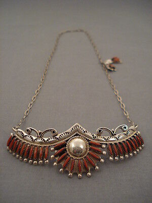 "Cute Vintage Zuni """"real Coral"""" Silver Necklace Old"