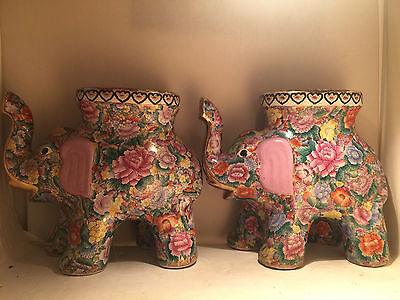 "2 x Feng Shui Antique Chinese Hand Paint Porcelain Lucky Elephants 22""L x 18.5""H"