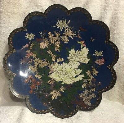 "Large Beautiful Antiques Chinese 1800's Cloisonné Plate 15"" Wide"
