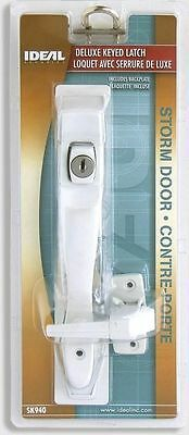 Ideal Security SK940W DELUXE KEYED LATCH WITH BACK PLATE WHITE STORM DOOR LOCKS
