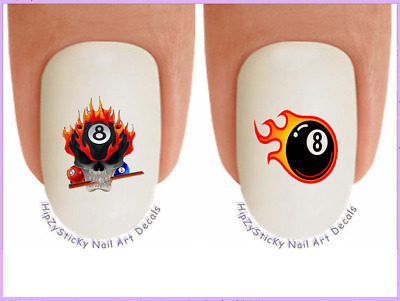 Nail Art #336 SPORTS Pool 8 Ball Flame Skull WaterSlide Nail Decals Transfers