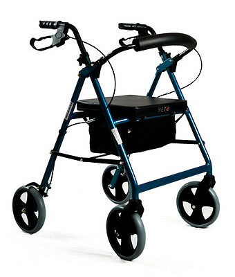 Foldable Rollator Walking Frame Indoor Outdoor Walker Aids - 8 inch Light Blue