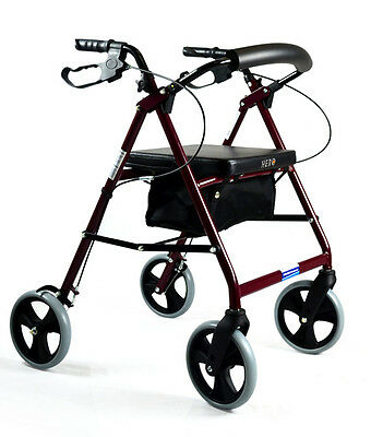Foldable Rollator Walking Frame Indoor Outdoor Walker Aids - 8 inch Burgandy