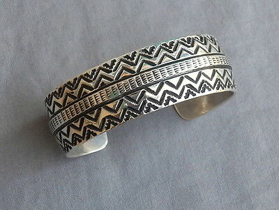 Heavy New Native American Navajo Sterling Silver Stamped Cuff Bracelet