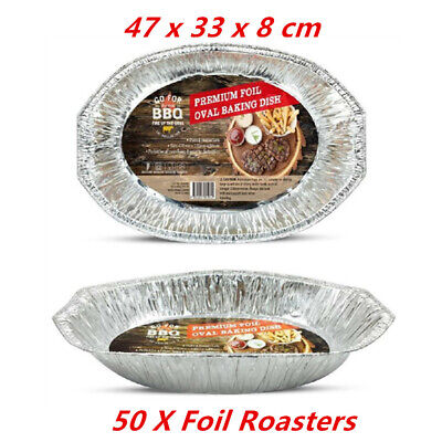 50 X Oval Foil Roasters/containers - Party, Kitchen, Restaurant, Wedding, Event