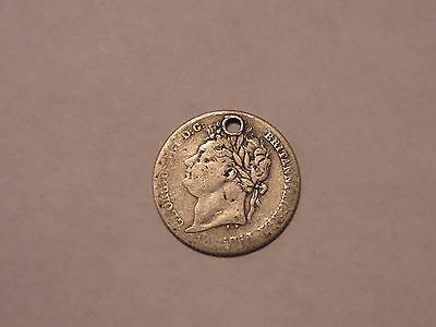 1825 Silver 6 Pence Sixpence UK Great Britain Coin Holed