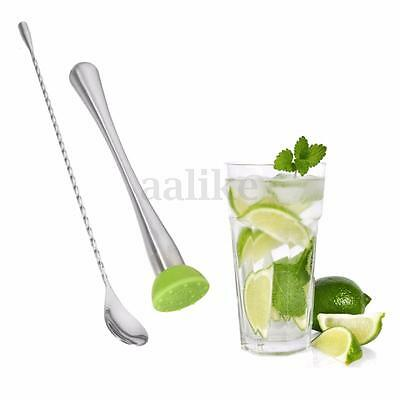 2Pcs Stainless Steel Bartender Mixing Bar Spoon Drink Stirrer Cocktail Muddler