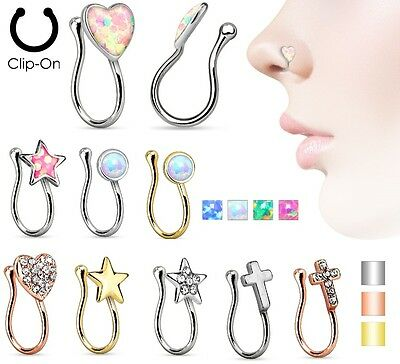 Fake Non Piercing Nose Clip on UK SELLER Cheater Nose Ring Opal Gem Indian