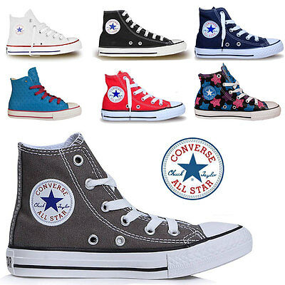0308c49329c1 Boys Girls Converse All Star Hi Tops Chuck Taylors Kids Trainers Shoe Sizes  UK