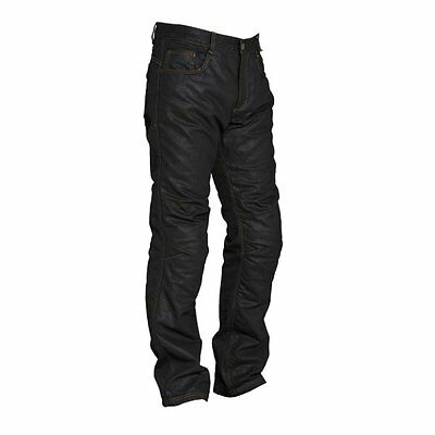 Segura Bower Mens Motorcycle Wax Regular Jeans Black Hip Knee Armour Sale *