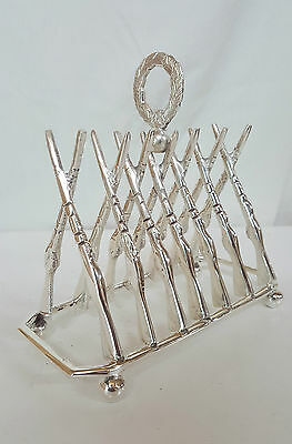Large Silver Plated Letter / Toast Rack Crossed GUN Design