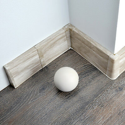 75mm PVC BALTIMORE ASH 2.5m SKIRTING BOARD & ACCESSORIES floor wall gap cover
