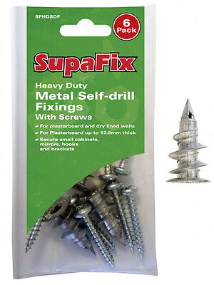 SupaFix Heavy Duty Metal Self-Drill Fixings With Screws Pack 6 Pigtails