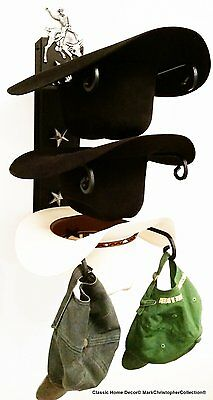 American Made Cowboy Hat Rack Bull Rider with Stars Powder Coated Black