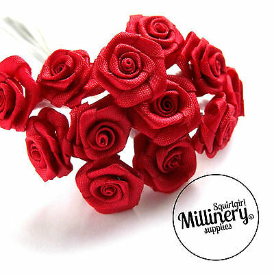 12 Mini Miniature Satin Wired Roses for Millinery, Crafting 16+ Colours!