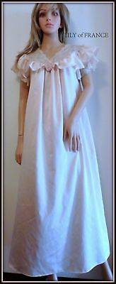 LILY of FRANCE VTG Pink Full Length Lace Collar Gown Sz S