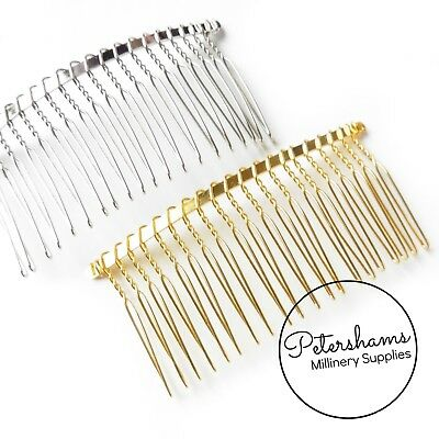 "3.25"" (8.5cm) Large Silver or Gold Plated Metal Hair Comb for Millinery & Tiaras"