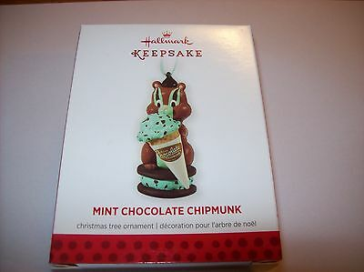 Hallmark  2013 Christmas Tree Ornaments,  Mint Chocolate Chipmunk, New In Box