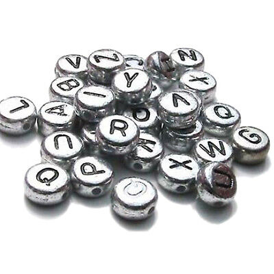 Bronze Tibetan Silver Letters Round Charms Beads DIY Crafts Accessory S*