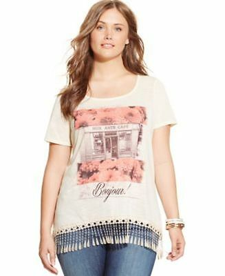 Style Co. Plus Size Fringed French Cafe Floral Bonjour 1X