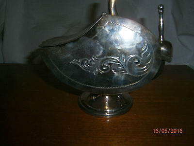 Large Sized Unusual Vintage Silver Scuttle Shaped Sugar Bowl with Scuttle Spoon