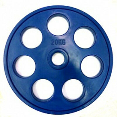 """Ironman Olympic 2"""" Rubber Coated 7 Hole Disc 20kg - Single Disc"""