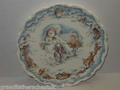 Royal Doulton The Motorbike Ride Snowman Plate Gift Collection 1St Quality
