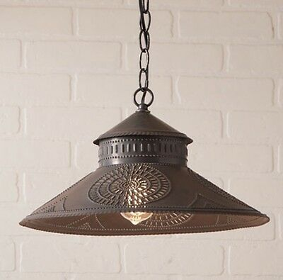 Shopkeeper Tin Shade Light/pendant Light In 2 Colors/primitive Country Light
