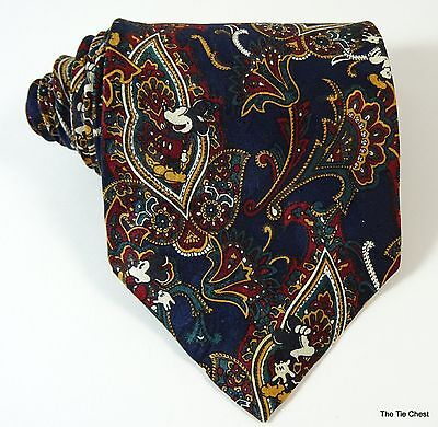 Mickey Mouse Silk Tie Paisley The Disney Store Necktie Navy Blue
