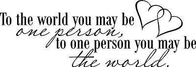 To The World You May Be One Person Vinyl Wall Decal Quote Sticker